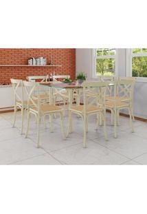 Conjunto De Mesa De Jantar Com 8 Cadeiras E Tampo De Vidro Katrina Bege