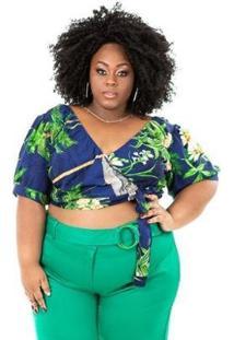 Cropped Plus Size Brio Donaire Feminino - Feminino-Azul