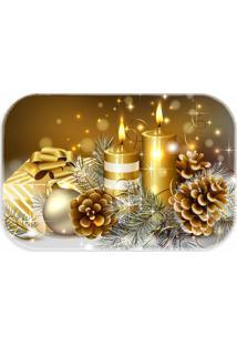 Tapete Decorativo Enfeite De Natal Dourado - Único