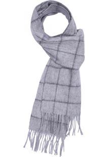 Cachecol Xadrez 100% Lã Grey Dark Grey 17707 - Solo