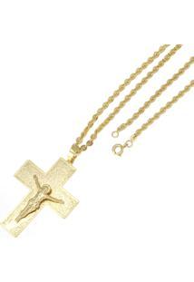 Pingente Cruz Com Corrente Tudo Jóias Elo Cadeado Dourada