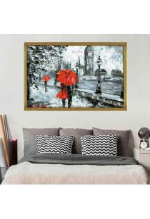 Quadro Love Decor Com Moldura London Red Dourado Grande