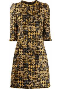 Dolce & Gabbana Vestido De Tweed Com Meia Manga - Amarelo