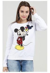 Blusão Feminino Moletinho Paetês Estampa Mickey Disney