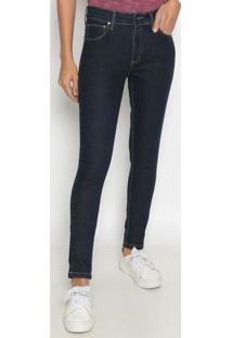 Jeans Skinny Com Bolsos & Pespontos - Azul Escurowrangler