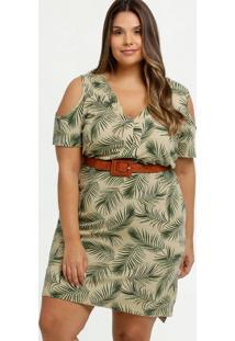 Vestido Feminino Open Shoulder Folhas Plus Size