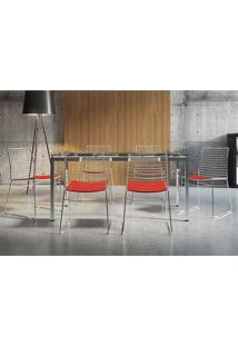 Mesa 328 Vidro Incolor Cromada Com 6 Cadeiras 1712 Vermelho Carraro