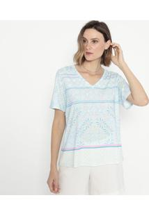 Blusa Abstrata- Azul & Rosa- Cotton Colors Extracotton Colors Extra