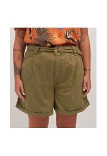 Short Com Cinto Em Sarja Curve & Plus Size | Ashua Curve E Plus Size | Verde | 46