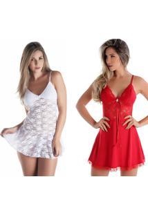 Kit 02Pçs Camisola Rendada Sem Bojo Branca E Vermelha Diário Íntimo