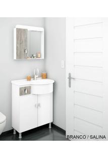 Gabinete Para Banheiro Kit Ks - Balcão + Espelheira + Marmorite - Branco Com Salina