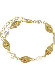 Pulseira Flores Coloridas Tudo Joias Folheada A Ouro 18K Dourada