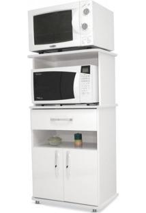 Armário De Cozinha Multiuso 2 Portas 1 Gaveta Asm151 Movelbento Branco