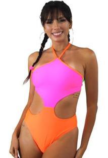 Body Com Detalhe Aberto Na Cintura E Neon - Feminino-Rosa