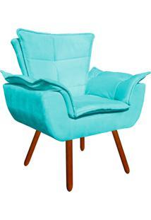 Poltrona Decorativa Opala Suede Azul Tiffany - D'Rossi