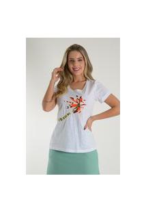 Blusa Mamorena T-Shirt Bordada Linha Branco