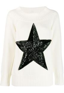 P.A.R.O.S.H. Suéter Com Estrela De Paetês - Branco