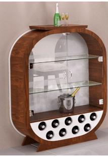 Cristaleira Decorativa / Adega - Branco E Imbuia - Tommy Design