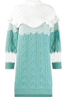 Fendi Vestido De Tricô Com Gola Alta - Azul