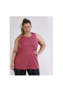 Regata Feminina Esportiva Ace Plus Size Alongada Rosa Escuro
