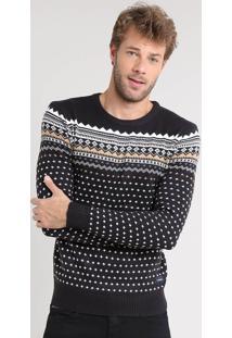 Suéter Masculino Estampado Flor De Lis Em Tricô Preto