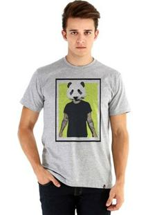 Camiseta Ouroboros Manga Curta Panda Man - Masculino-Cinza