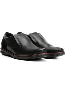 Sapato Social Couro Pegada Sem Cadarço Masculino - Masculino-Preto