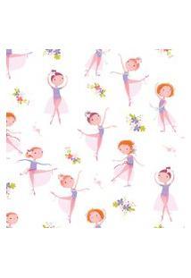 Papel De Parede Bailarina E Flores Quarto De Menina 57X270Cm