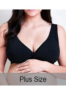 Sutiã Gestante Poá Em Tecido Duplo Mondress Maternity (8085E) Plus Size
