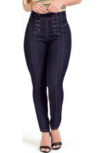 Calça Cigarrete Jeans Escura Sawary Com Botões