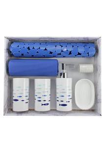 Kit De Banheiro Completo Jacki Design 6 Peças Azul E Branco Cozy
