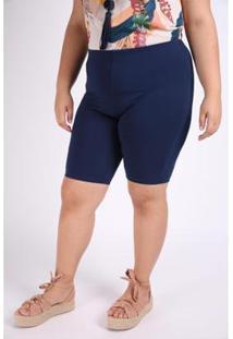Bermuda Kauê Plus Size Cotton Feminina - Feminino-Azul Petróleo