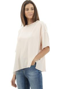 Camiseta Le Lis Blanc Ampla Juli Seda Rosa Femininana