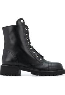 Giuseppe Zanotti Ankle Boot Nevada De Couro Com Salto 40Mm - Preto