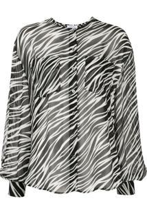 Anine Bing Blusa Arrow De Seda Com Estampa De Zebra - Preto