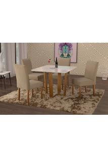 Conjunto De Mesa De Jantar Com 4 Cadeiras E Tampo De Madeira Maciça Valencia Iv Suede Marrom Médio E Off White