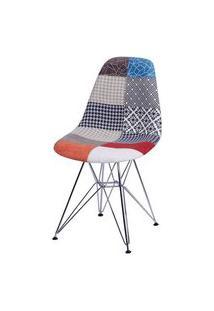 Cadeira Eames Patchwork Base Cromada - 25243 Preto