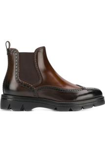 Santoni Ankle Boot Com Bico Contrastante - Marrom