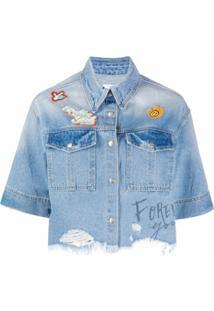 Sjyp Jaqueta Jeans Cropped Com Efeito Destroyed - Azul