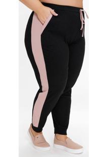 Calça Plus Size Jogger Preta E Rosa