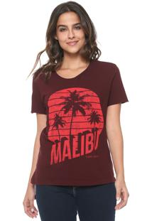 Camiseta Calvin Klein Jeans Malibu Destroyed Bordô