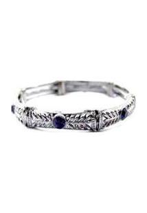 Pulseira Armazem Rr Bijoux Prata Cristal Azul - Feminino-Prata