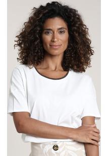 Blusa Feminina Mullet Manga Curta Branca