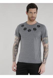 Camiseta Listrada Com Flores Cinza Mescla