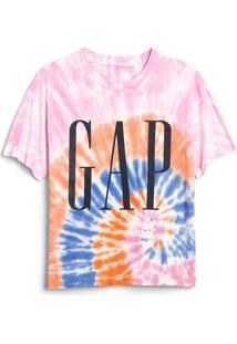 Camiseta Gap Tie Dye Lilás/Laranja