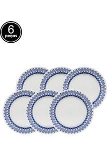 Conjunto De Pratos Rasos Oxford Cerâmica Donna Grecia 6 Pçs Branco/Azul
