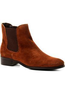 Bota Couro Chelsea Shoestock Nobuck Feminina