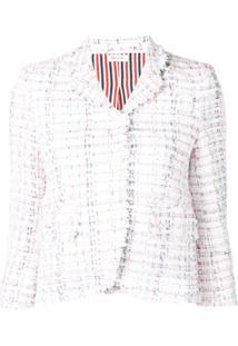 Thom Browne Casaco De Tweed Com Detalhe De Fitas - Branco