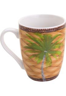Caneca Palm- Bege & Verde- 330Ml- Rojemacrojemac