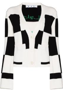 Off-White Cardigan De Lã Xadrez - Branco